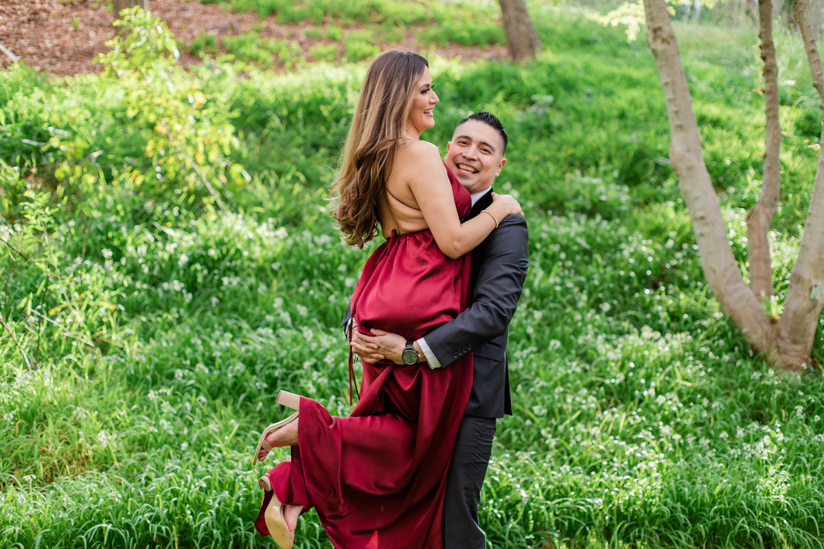 UC Riverside Botanical Gardens, Engagement Photography, Riverside Phototgrapher, Garden Engagement, Couple Photography, Red Dress-29