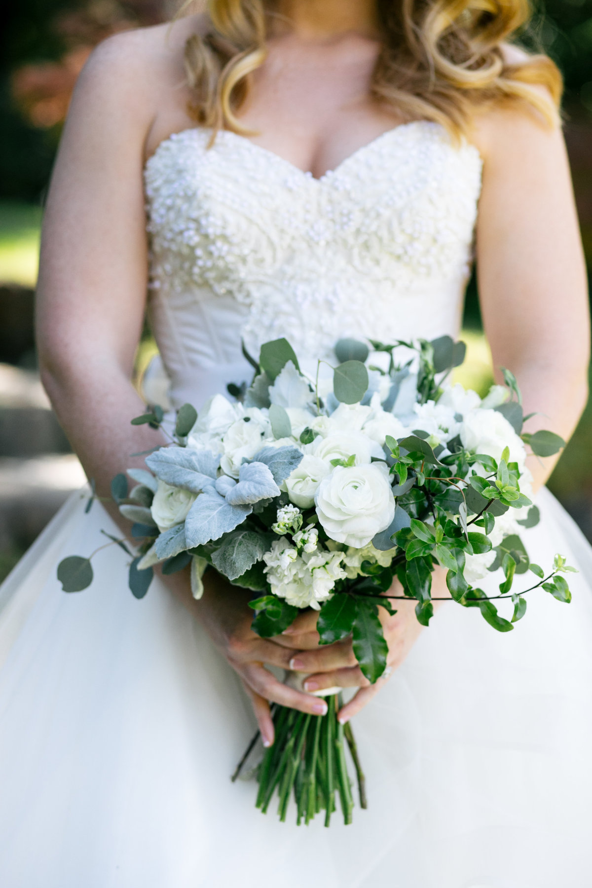 White and sage wedding bouquet Foothill Flowers Grass Valley, Ca