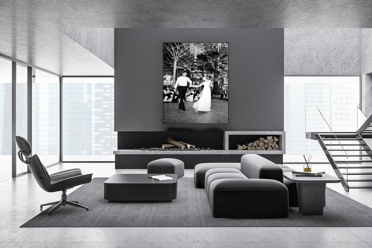 Huge canvas in the living room of  a modern city loft.