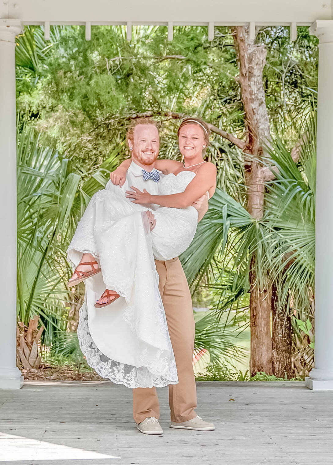 Bald Head Island Wedding Photography - Anna and Ray - Beach Carry Pose 2 - Wilmington Photographers Team
