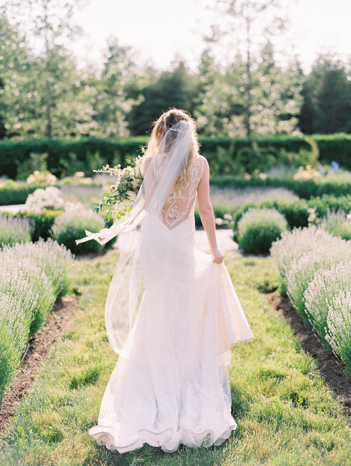 bride walking through the english garden at monet vineyards
