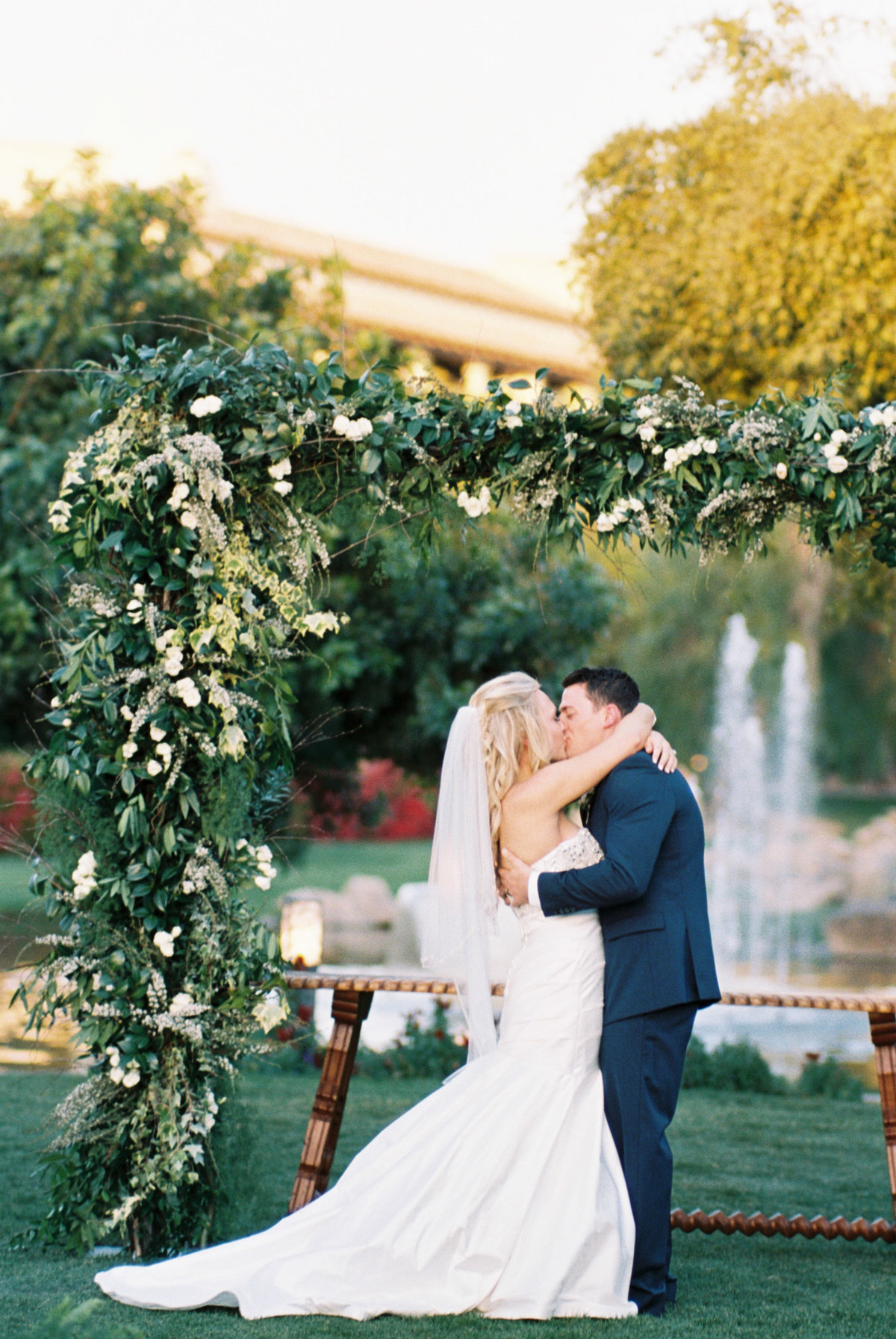 Fairmont Princess WEdding Scottsdale Wedding Celebrations in Paper Stationary Maree Wedding Dress Flower Studio Tre Ja Vu Band Brushfire Photography Glamour and Wood Rentals Scottsdale Wedding Planner Phoenix Wedding Planner Garden wedding Ballroom wedding Outdoor ceremony