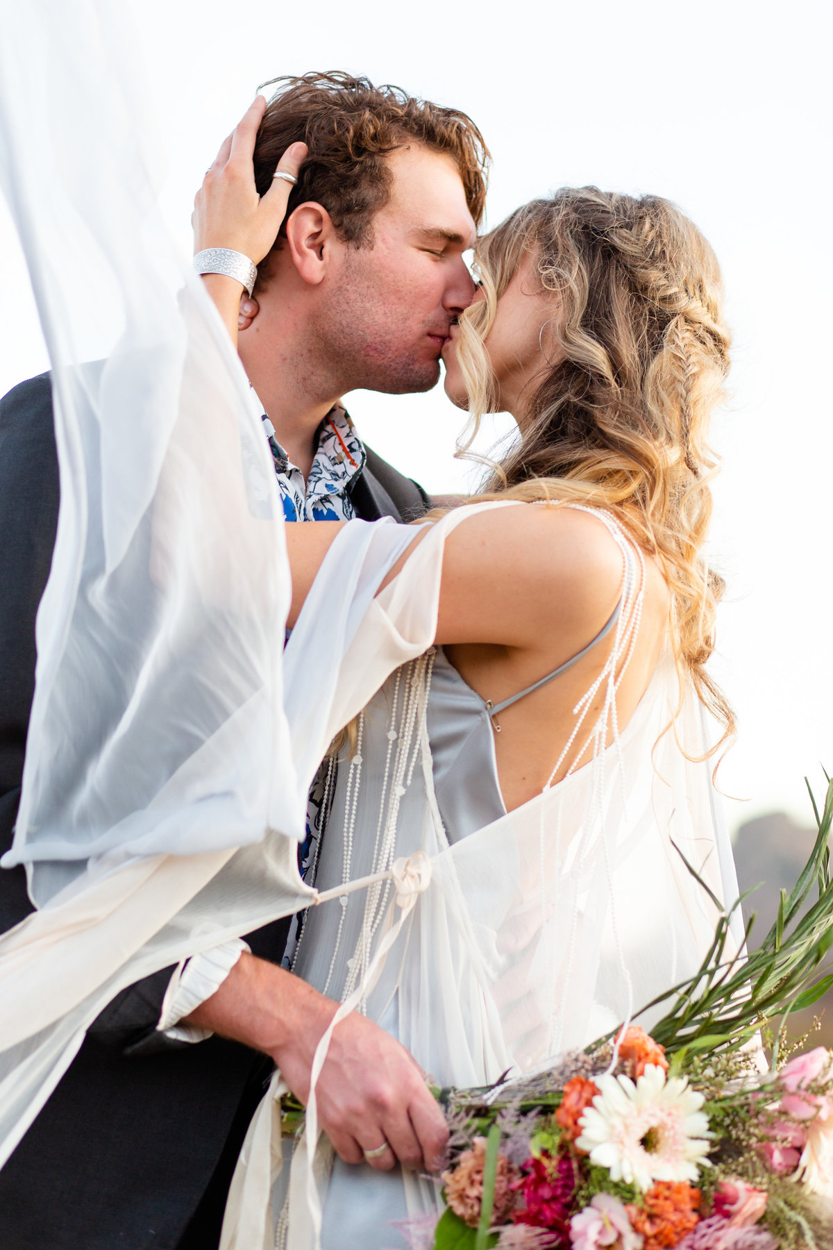 Romantic Summer Elopement  bride and groom kissing at Castiac Lake in California  by Amy Britton Photography Photographer in St. Louis