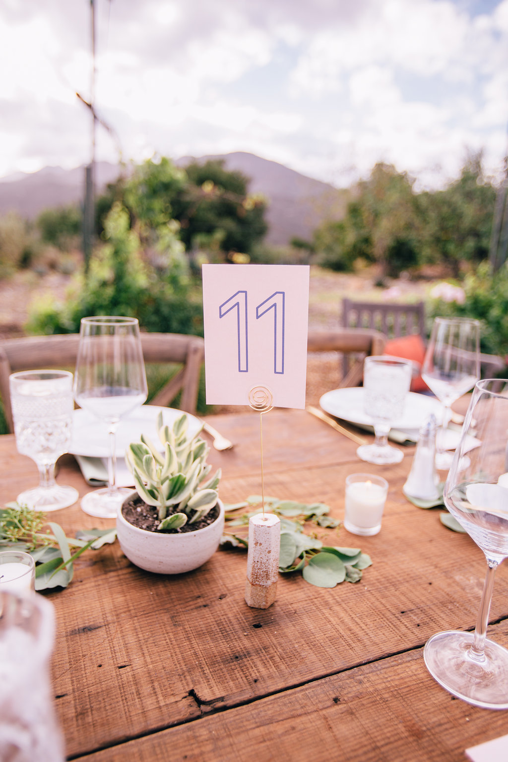 desert wedding reception table setting with cork table number and succulent centerpieces