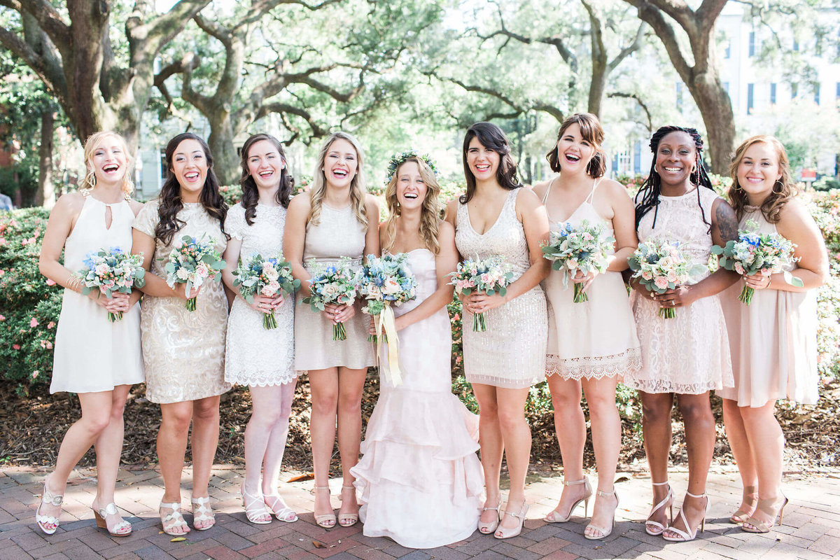 White and Cream bridal party in Savannah by Apt. B Photography