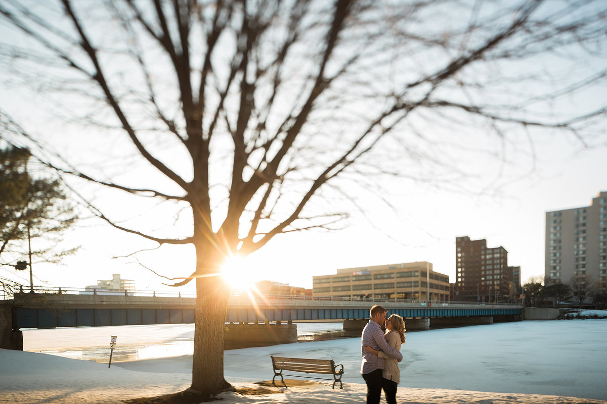 downtown rockford il engagement photograph during the winter
