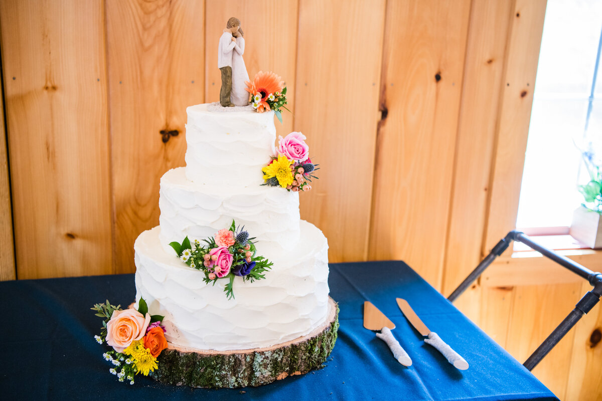 Colorful florals on Boston wedding ceremony cake