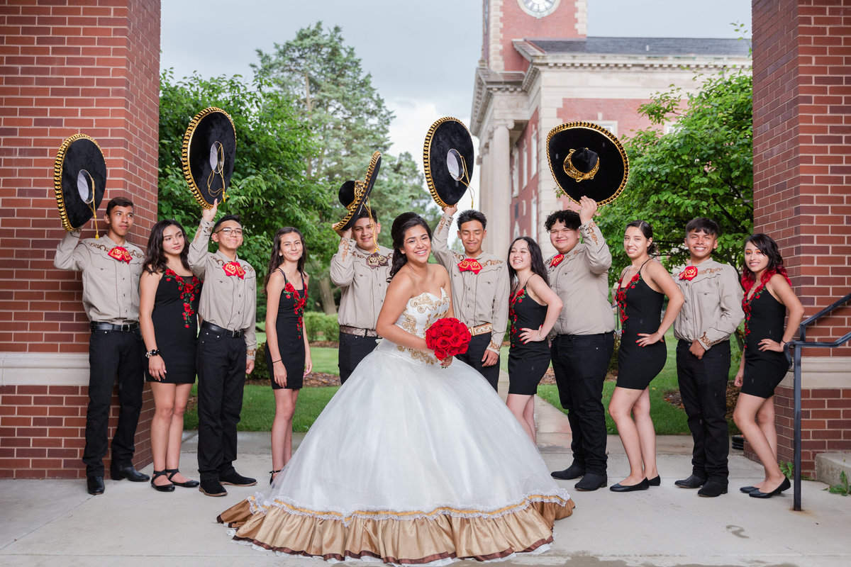 Maira Ochoa Photography, Beautiful Quinceanrea, Mariachi theme in University of St Mary of the Lake, Mundelein, IL, Chambelanes charros portraits_-25