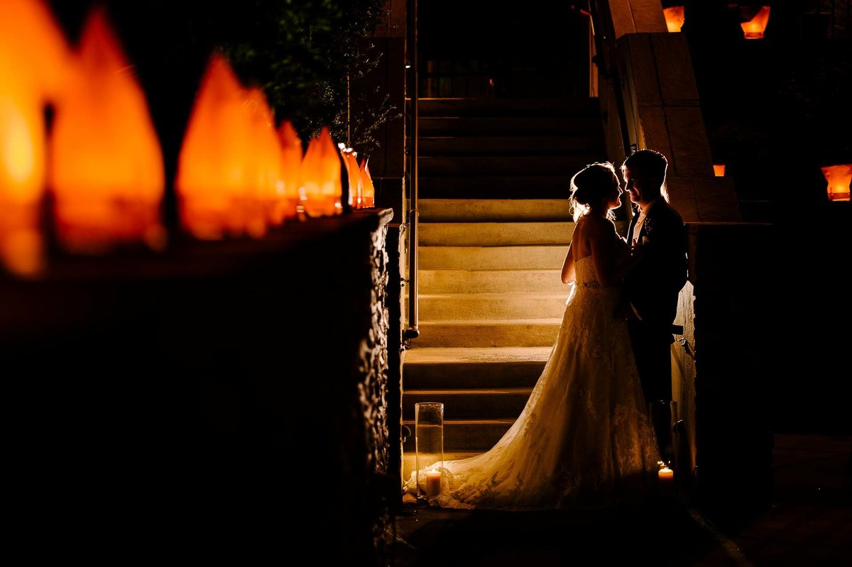 night portraits of bride and groom at Four Seasons Resort Rancho Encantado Santa Fe