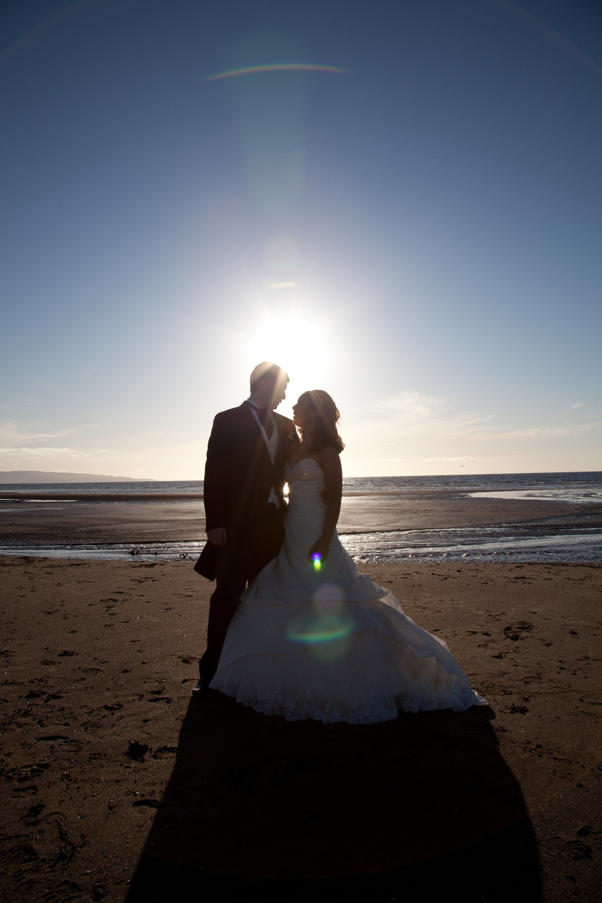 Bride and Groom Silhouette on Troon Beach