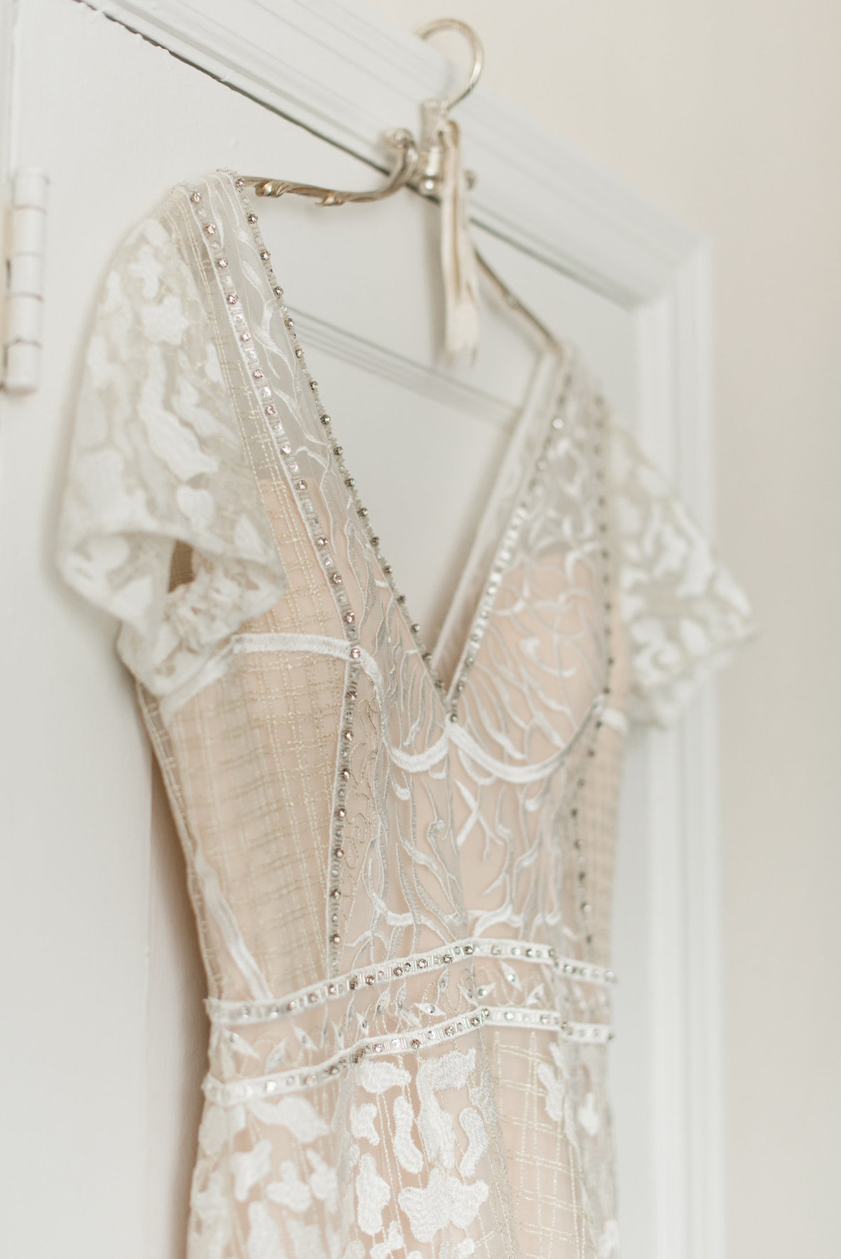 barefoot bride gown hanging detail
