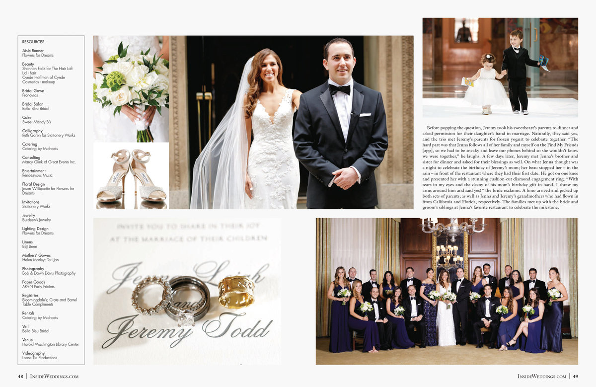 We couldn't be more excited for Jenna + Jeremy to see their wedding featured in the Summer 2019 edition of the most luxurious bridal magazine, Inside Weddings. Their wedding was so beautiful but even more beautiful is their family and the love they all have for each other. Event Planner, Marcy Glink of Great Events and Event Designer, Jason Williquette of Flowers For Dreams did an outstanding job with every single detail.  Click here for a list of vendors.