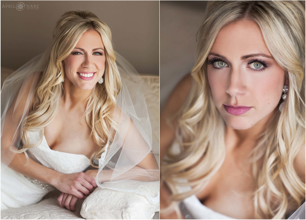 Close up headshot style bridal portrait at the Highlands Ranch Mansion at a winter wedding in Denver, CO