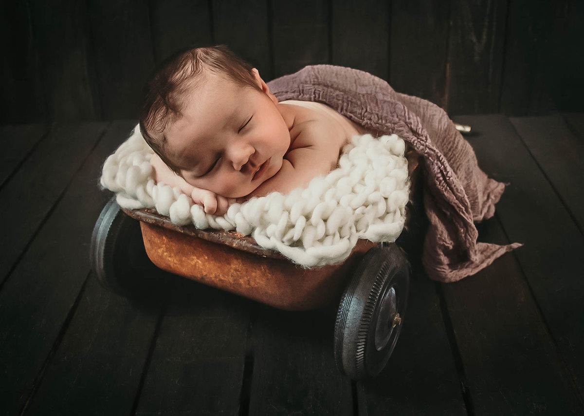 Dallas newborn in Wagon