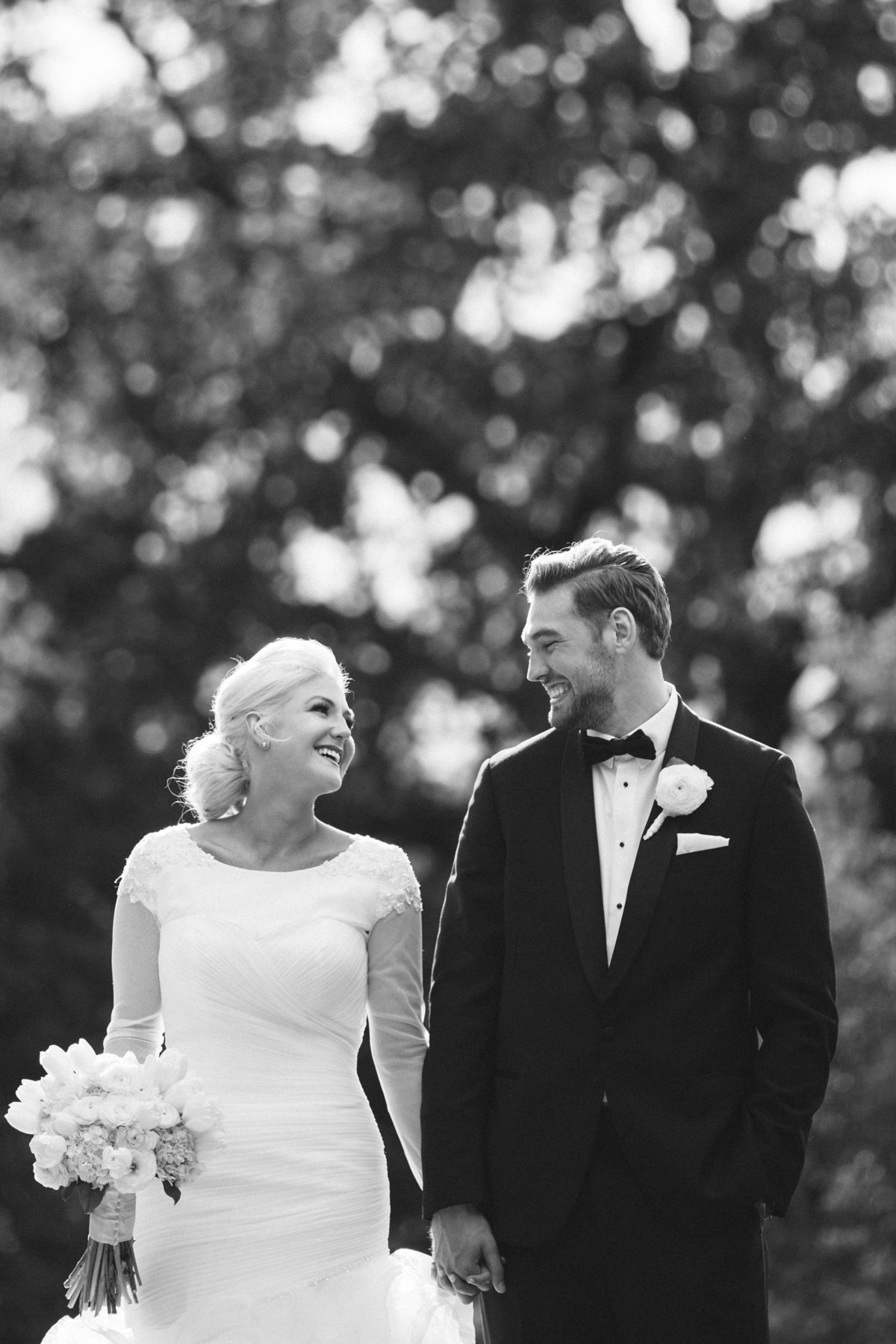 Black and white photo of bride and groom, Haggin Oaks Sacramento Ca