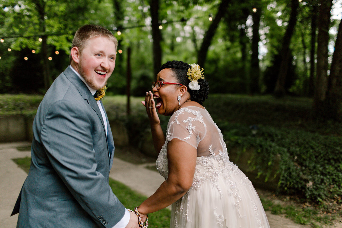 wedding photos of a couple laughing
