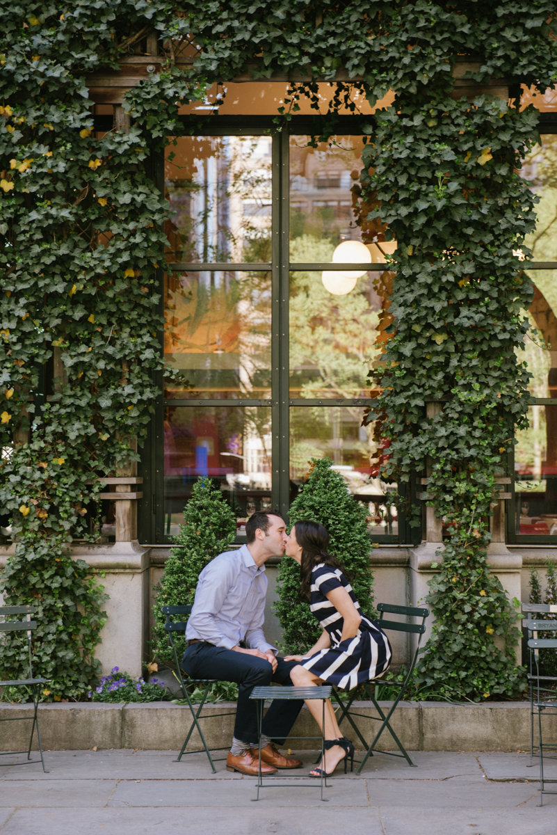 Romantic engagement photo in Bryant Park NYC