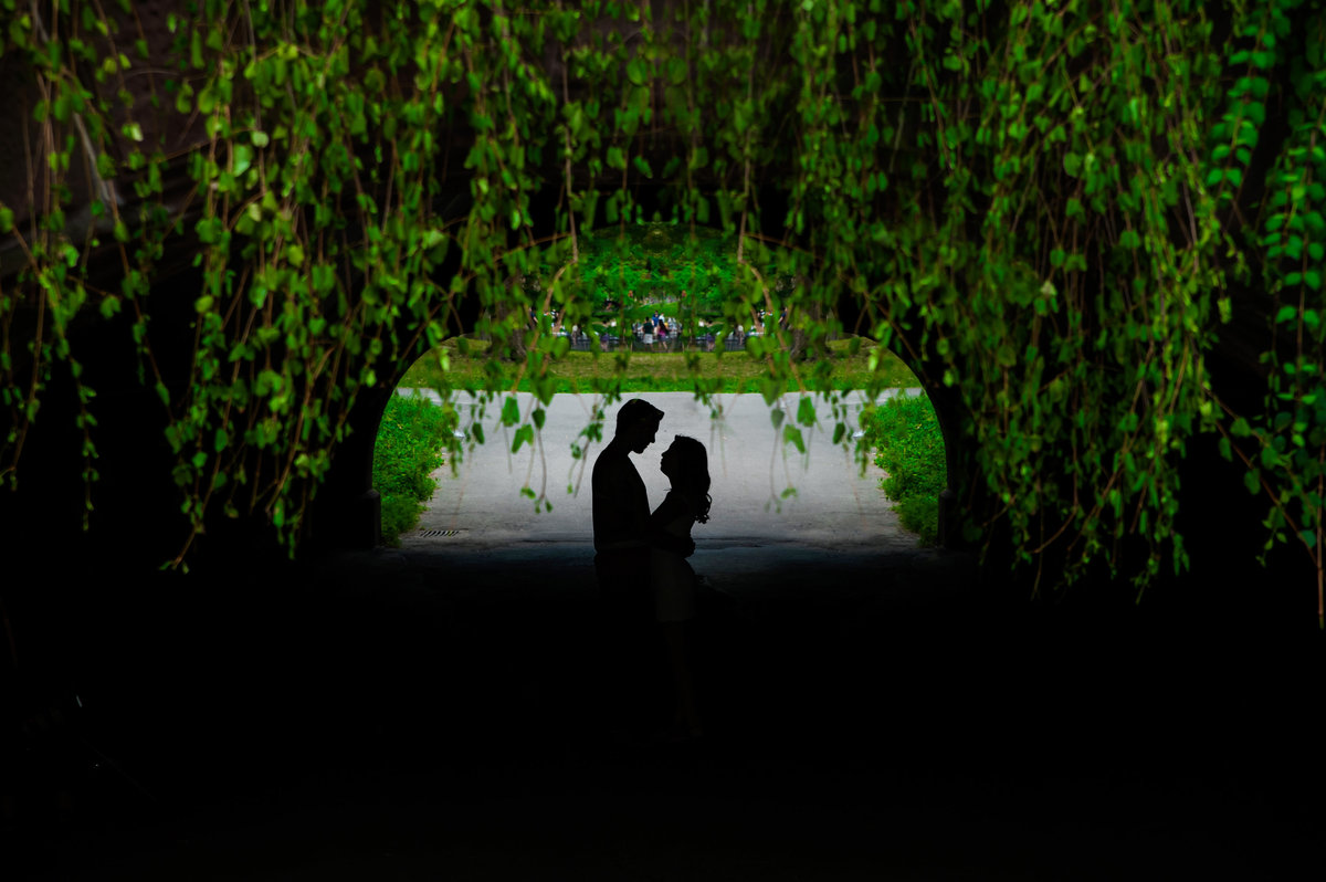 Silhouette of couple at bridge in Central park NYC