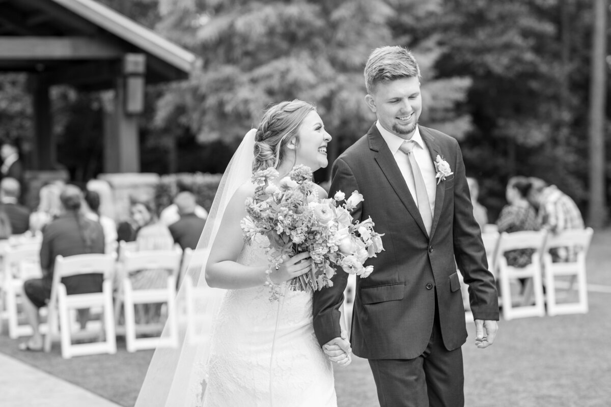Black and White Photo of Newly Married Couple