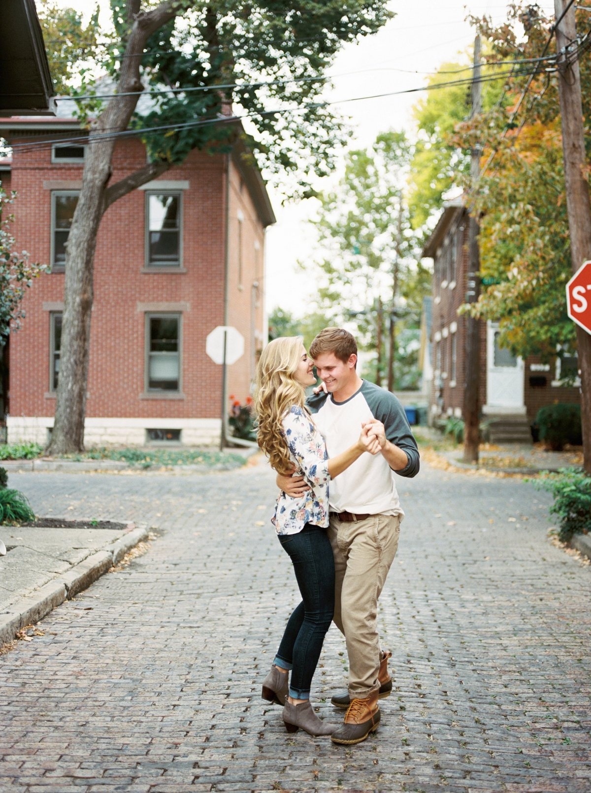 Columbus Ohio Engagement, Fine Art Film, Dancing in Street
