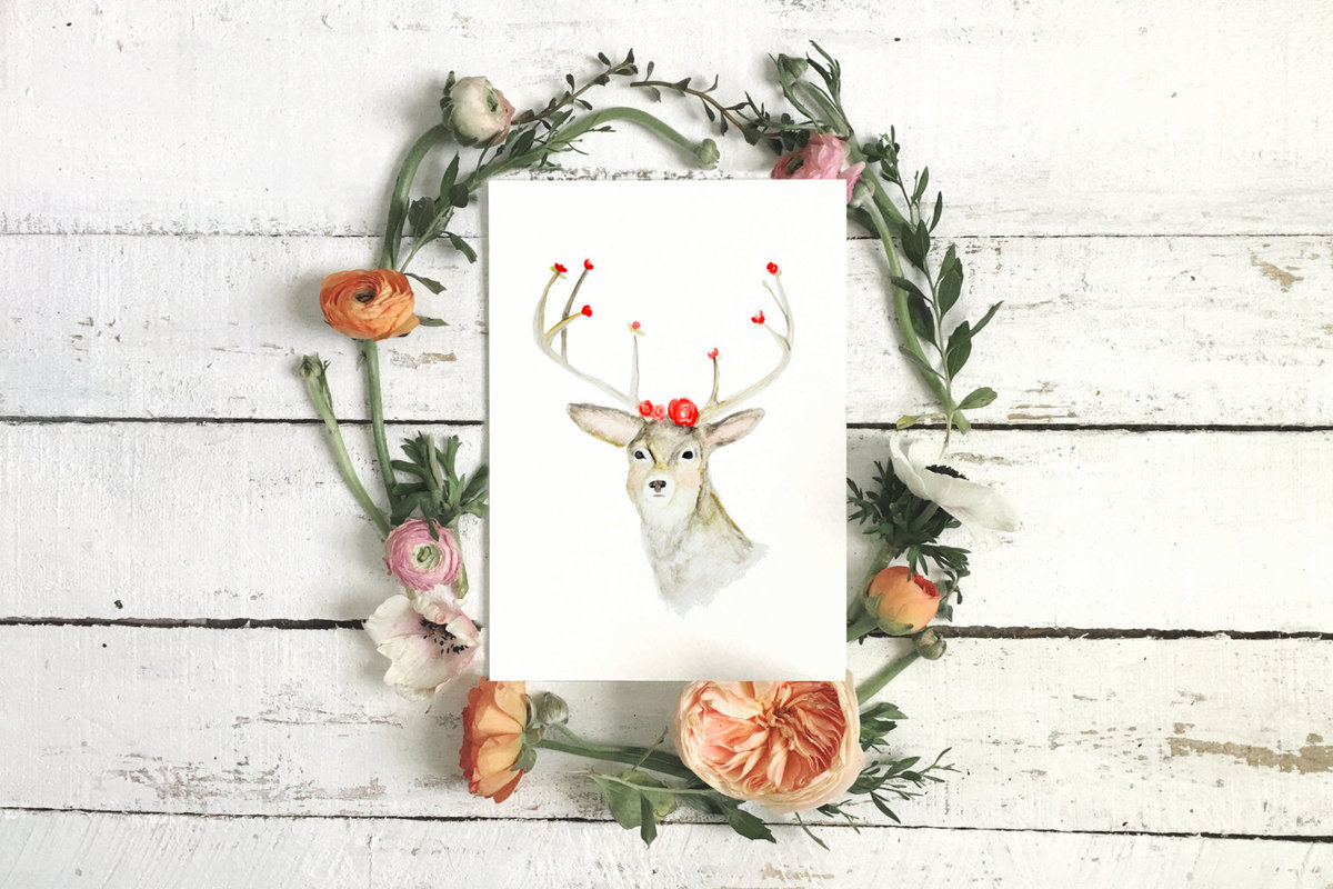 Stag_Deer_Antlers_Printable_-_Watercolor_Flowers_-_Nursery_Printable_Artwork_-_Digital_Print_-_Fores-400745763-_1