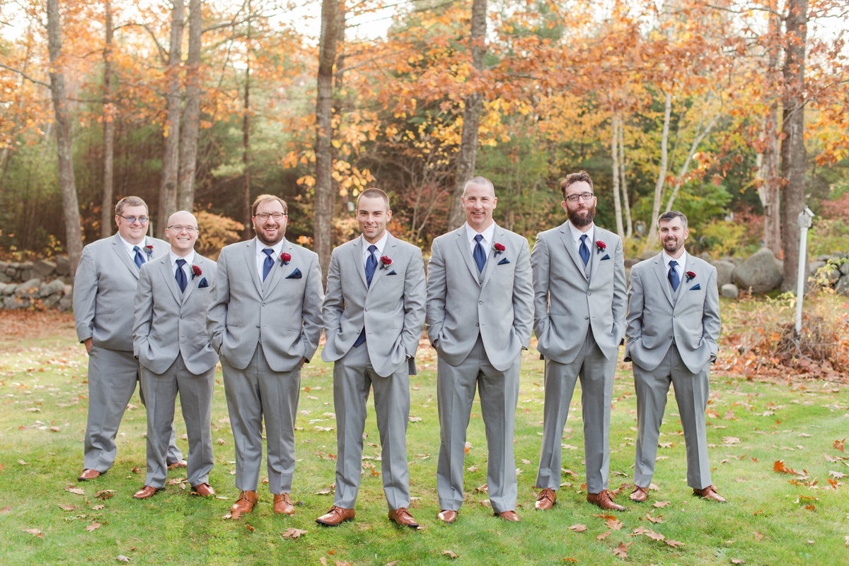 Groomsmen photos at Clay Hill Farm for Melanie and Mike's wedding day.