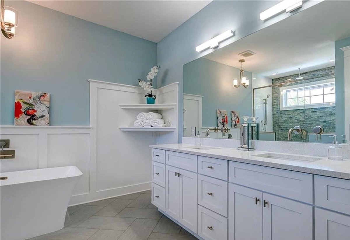 free standing tub in master bathroom