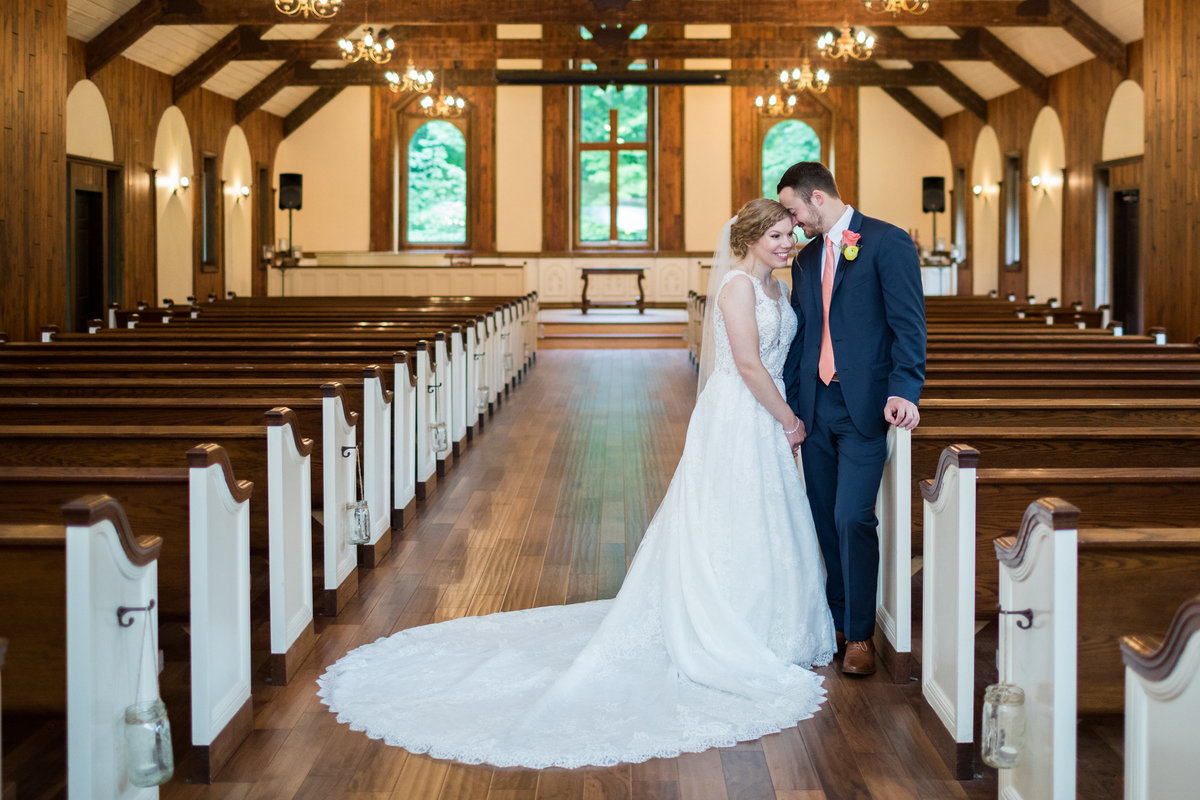 A chapel in the woods on a wedding day photograph