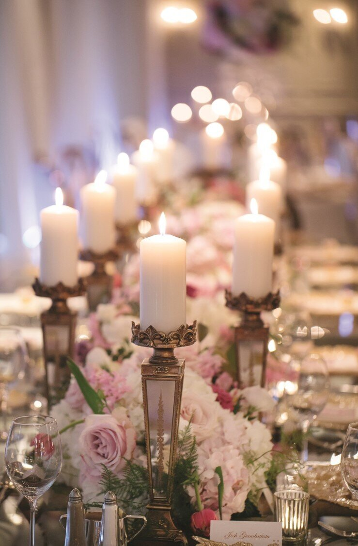 blush-gold-wedding-reception-centrepiece-candles-flowers