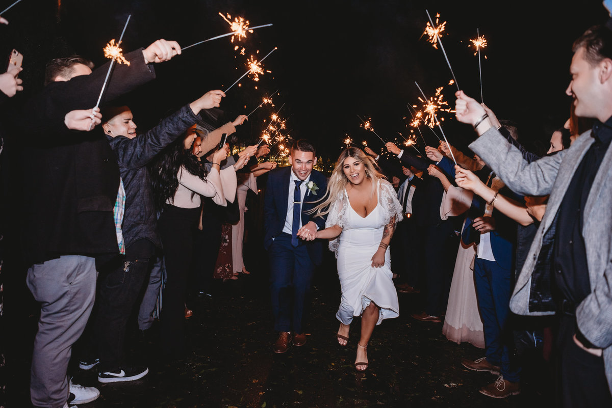 Sparkler send off at The Riverbed Farms - Dallas Wedding Photographer