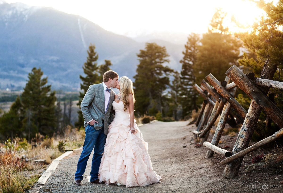 Romantic sunset wedding photography at Sapphire Point in Summit County