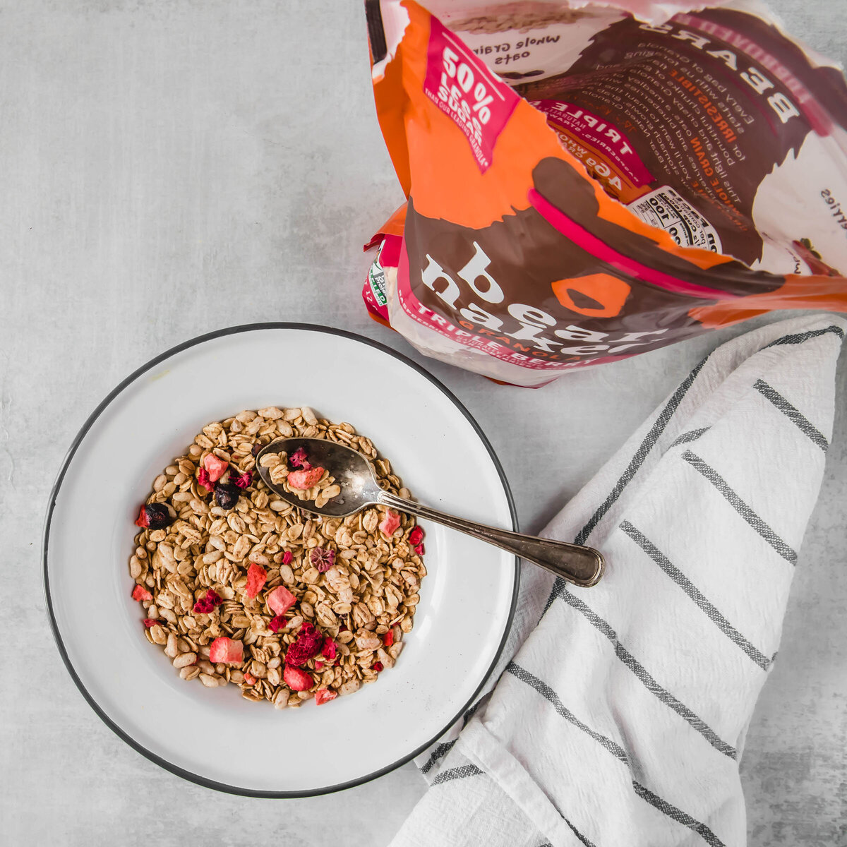 breakfast cereal photograph for Kelloggs and Bear Naked Granola by Nancy Ingersoll