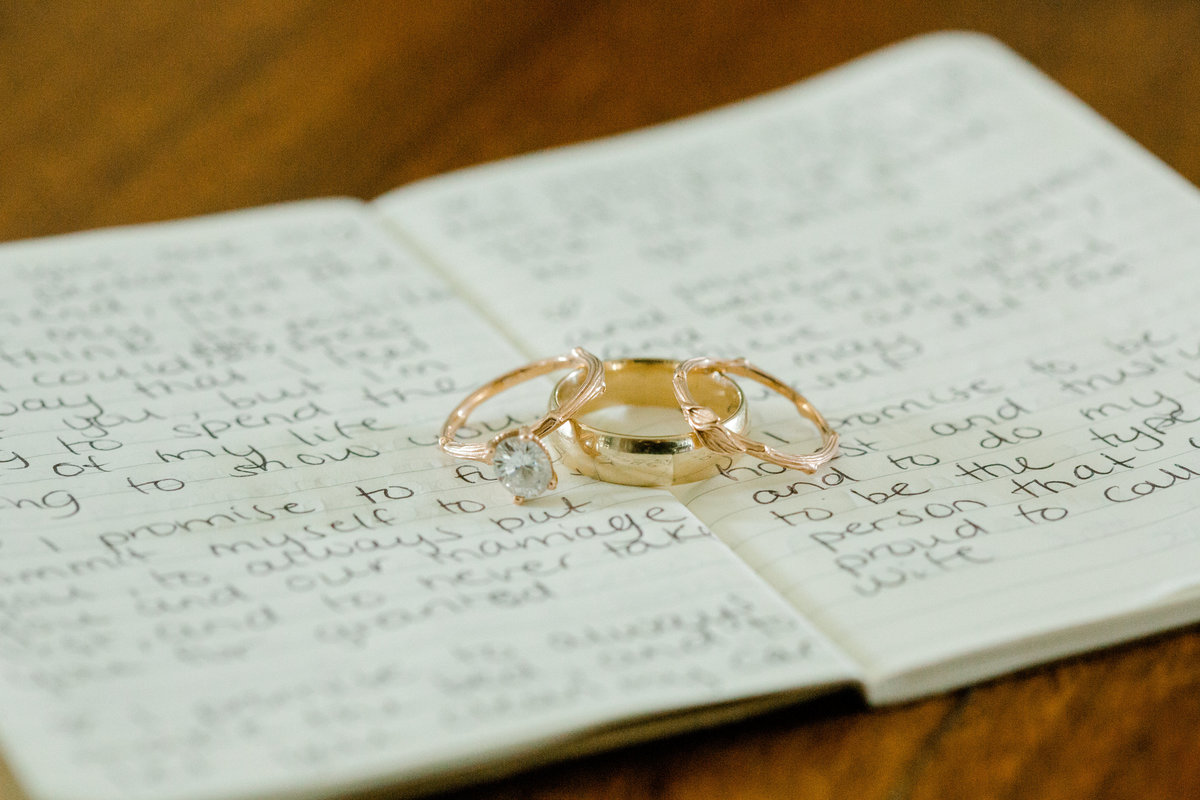 Rings laying on wedding vows at Olympias Valley Estate in Petaluma California