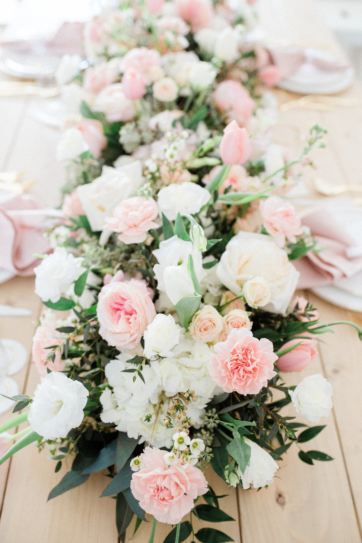 mixed pink white blush flower table garland