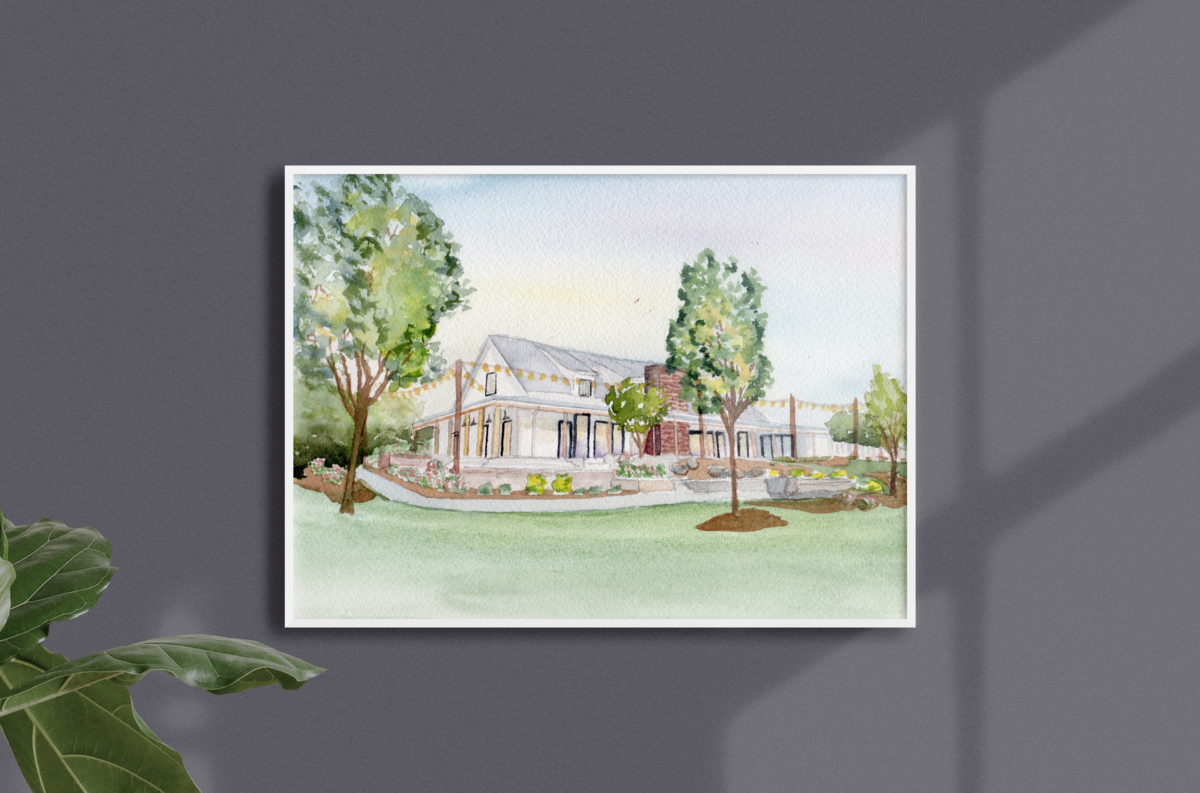 Watercolor Wedding Venue Painting Custom Stationery Invitations