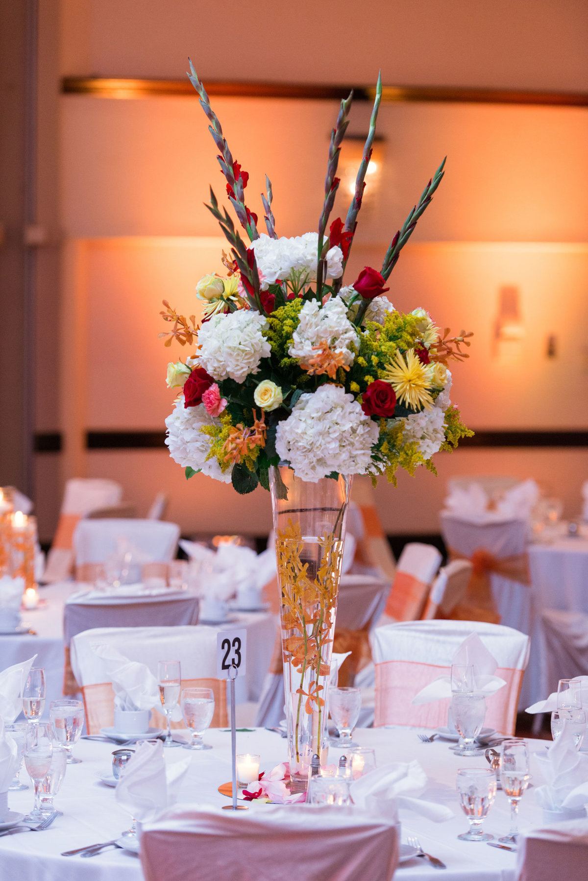 floral centerpieces at Huntington Hilton
