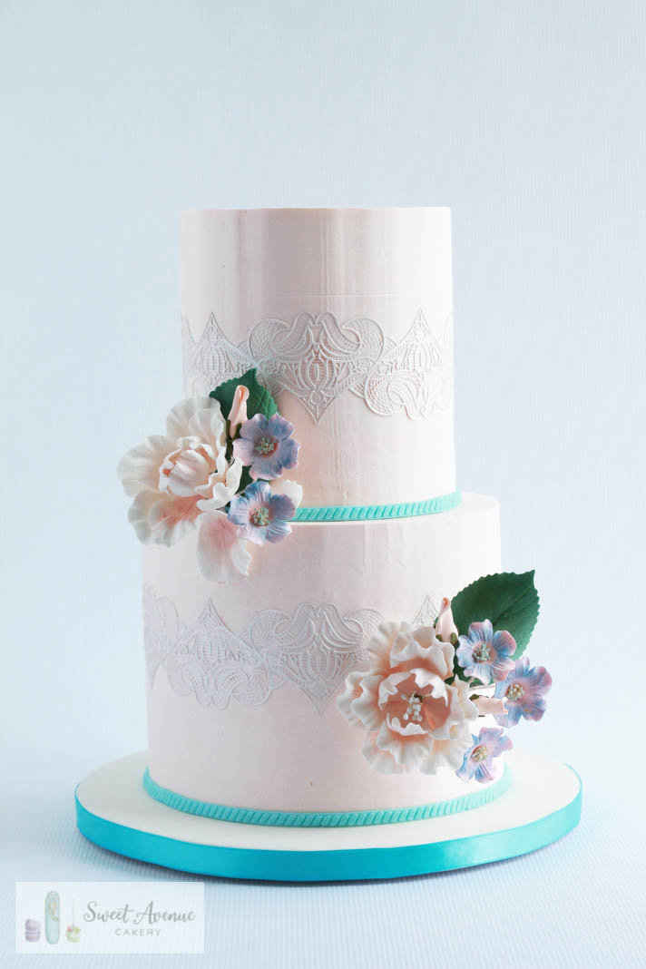 peach and tiffany blue wedding cake with lace and flowers, Hamilton ON wedding cakes