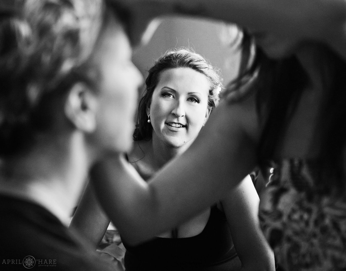 Bride's face unusual artistic wedding photography in Steamboat Springs CO
