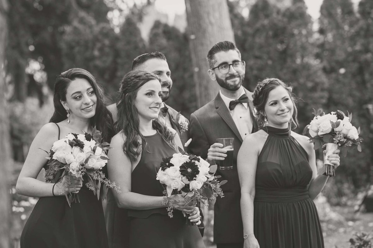 Bridal party candid photo at Fox Hollow