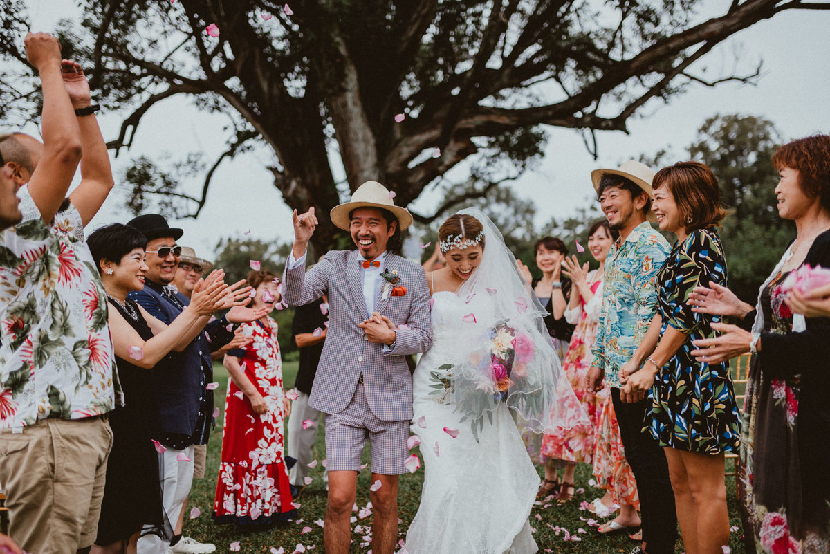 Sunset Ranch Wedding Oahu Hawaii Bride Groom Ceremony Chelsea Abril Photography