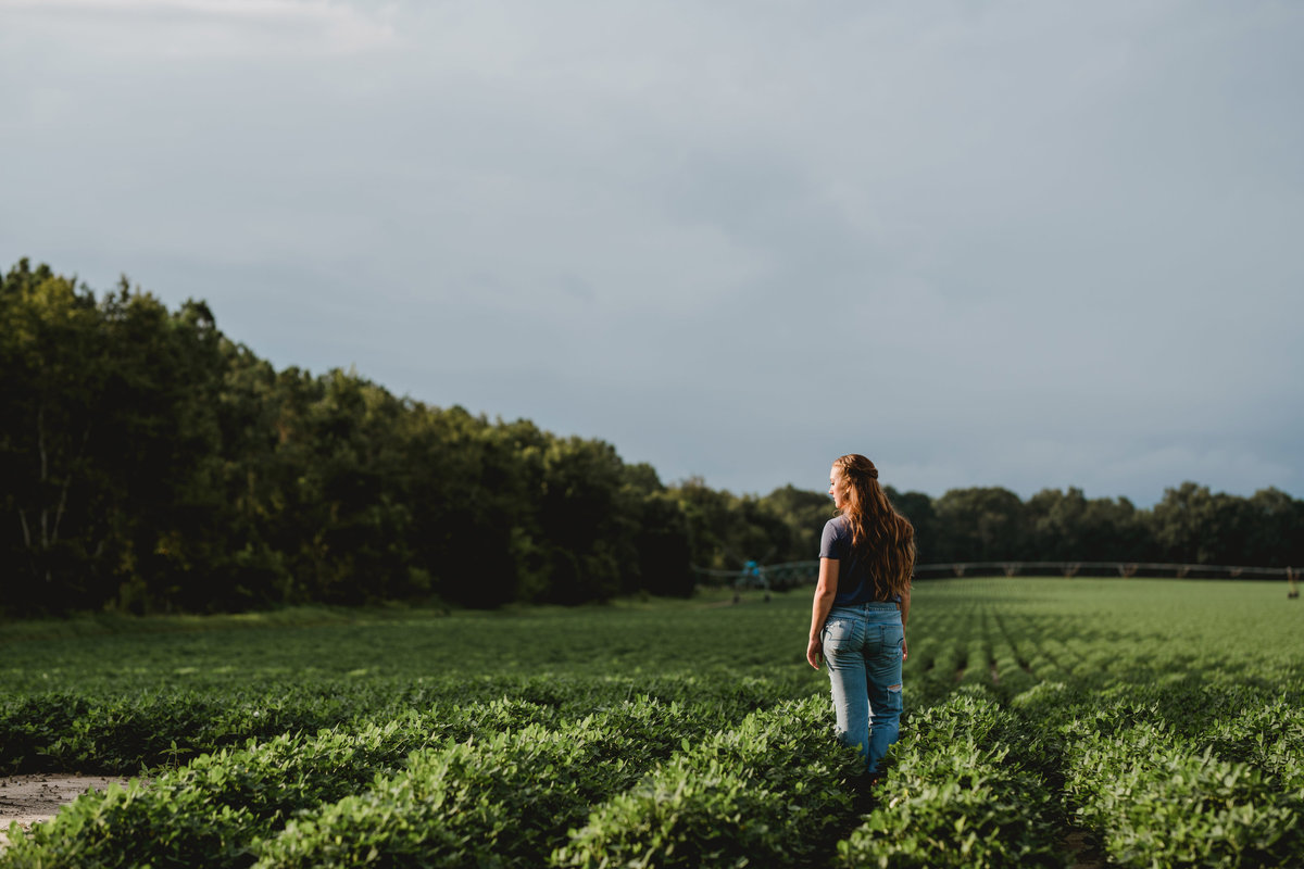 Senior picture in a peanut field on senior girls family farm in north Florida.