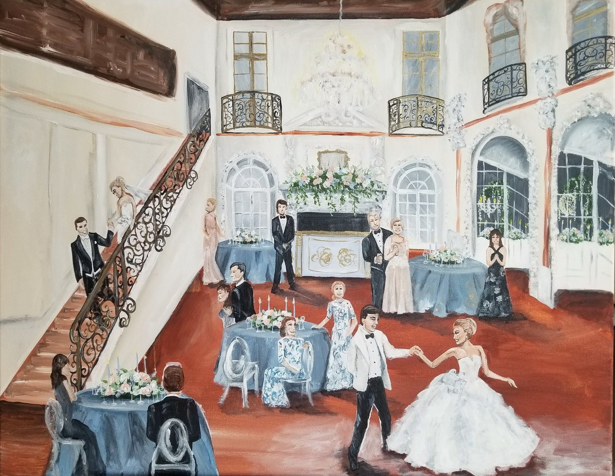 first dance Anderson House Washington DC live wedding painting