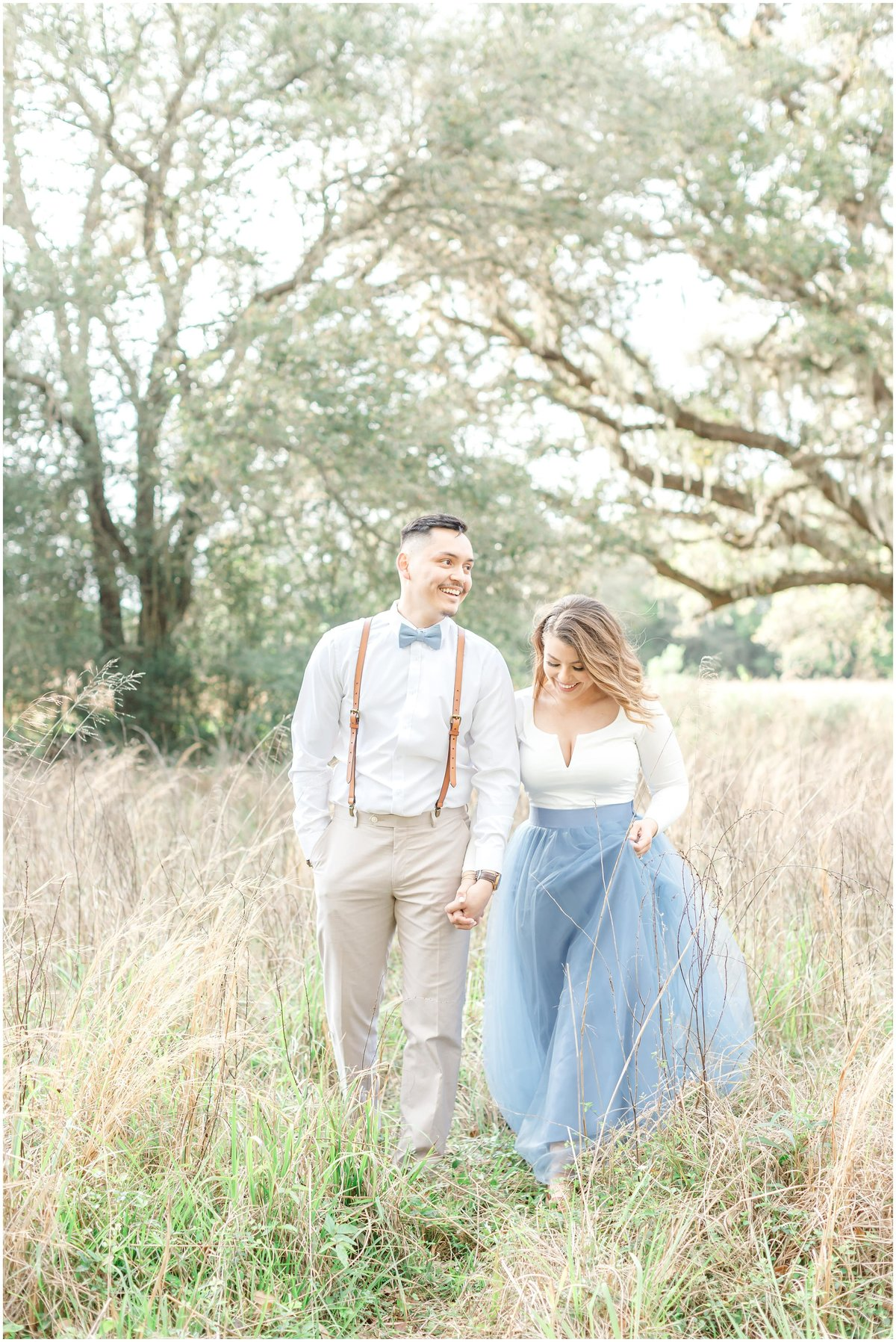 Engagement session with greenery with tlle skirt  Brazos Bend park