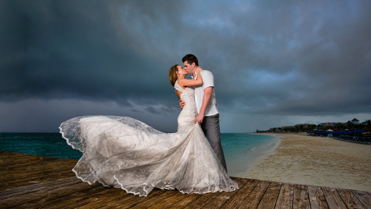 Bride and groom on the beach in Turks and Caicos for the destination wedding