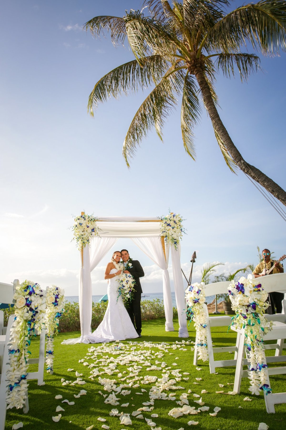 Maui Wedding Photography at The Westin Maui Resort and Spa with bride and groom during the ceremony