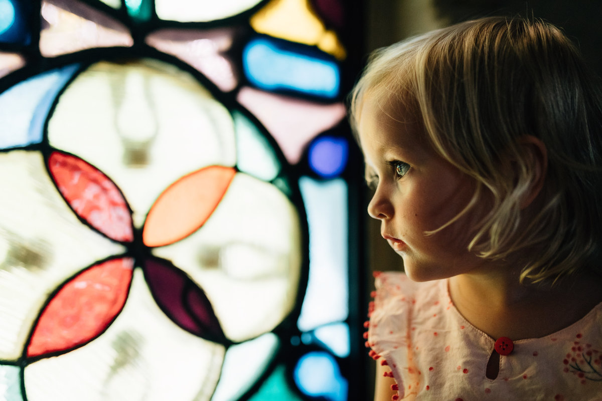girl with stained glass window Melbourne family photography And So I Don't Forget Photography