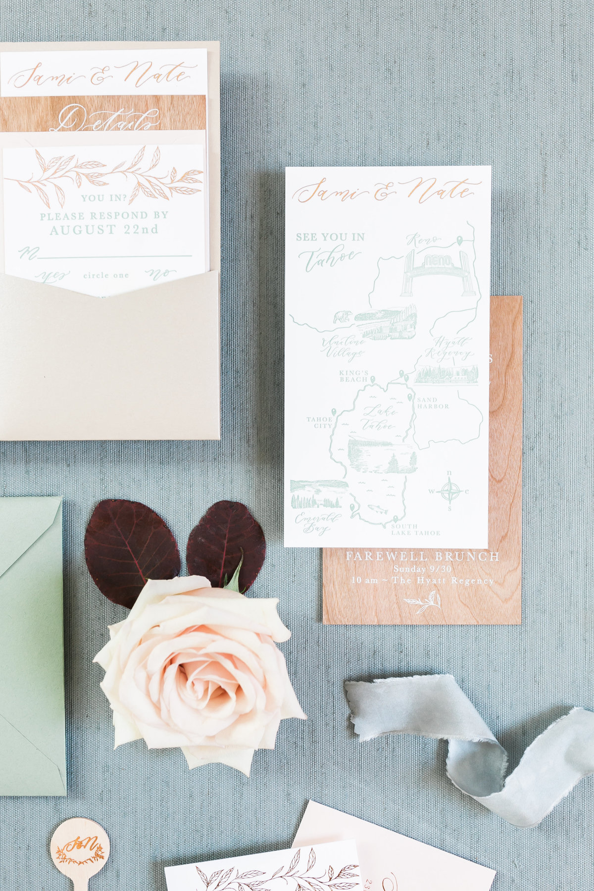 invitation map and wood paper for a Lake Tahoe Wedding