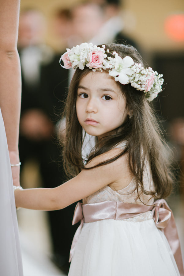 flower girl wearing a flower crown