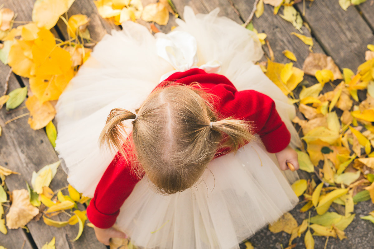 overhead view of toddler girl picking up yellow autumn leaves {Burlington Child Photographer}