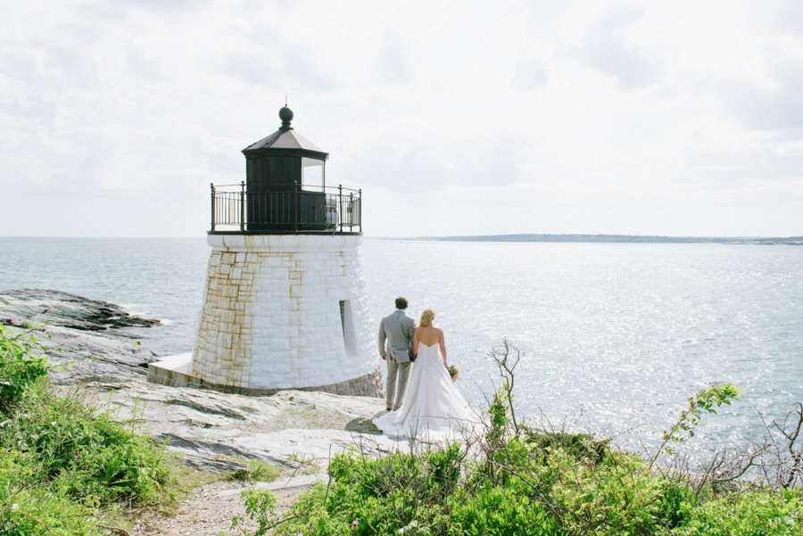 Wedding photo at The Castle Hill Lighthouse in RI